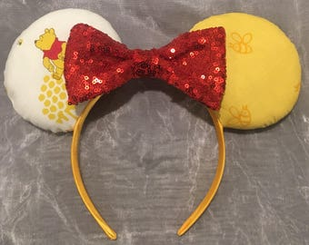 Winnie the Pooh- Style 2 Mickey or Minnie Ears! Handmade Sewn & Stuffed- Fits Child to Adult