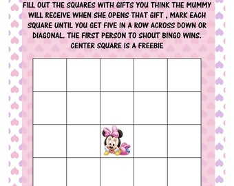 BABY SHOWER GAME Pack Instant Download /Minnie Mouse /printable's 4 games girls or boys /pinks