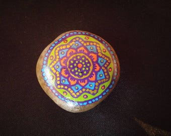 Painted mandala blue roller orange magnet