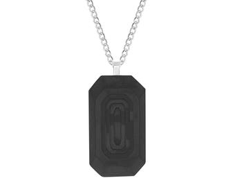 "Carbon Fiber Step Cut Octagon Dog Tag Pendant with Wood Grain Like Design and Stainless Steel, 24"" Chain Necklace"