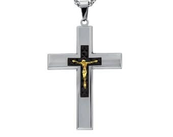 "Silver-Tone Cross with Gold-Tone Diamond Cut Jesus Crucifix Necklace Pendant in Stainless Steel, 18""- 24"" Chain"