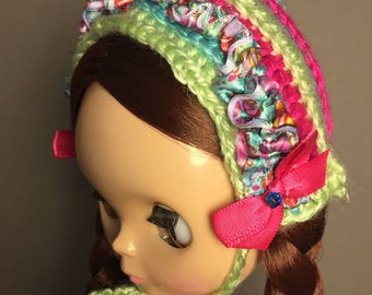 Unique,hand-crafted, OOAK Peppermint pixie doll hat