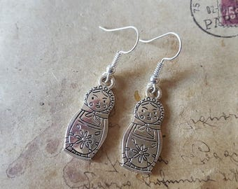 Matryoshka earrings ~ silver ~