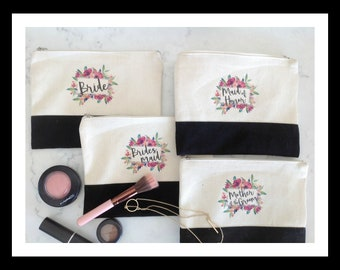 Custom Bridesmaid Makeup Bag Tassel, Canvas Bride Cosmetics, Personalized Canvas Bag, Maid of Honor Gift, Floral Makeup Pouch