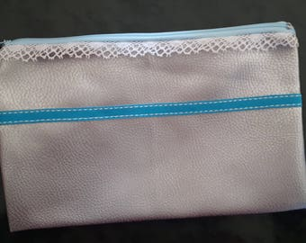 CLUTCH FAUX TURQUOISE AND GRAY