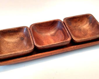Bohemian wood bowl set / Trio of Bowls / Wood bowl set / Made in Philippines / Trio / Teak Wood / Teak / Boho Wood / Boho Decor