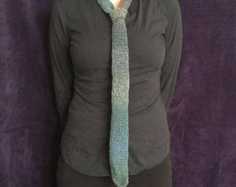 Blue Ombre Crochet Necktie