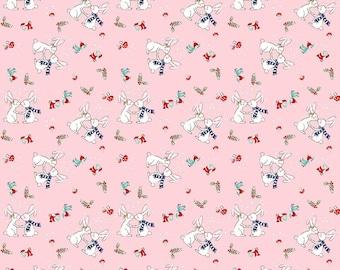 Riley Blake - Pixie Noel Bunnies Pink by Tasha Noel - 100% Cotton