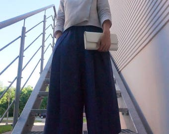 Linen trousers, linen pants, falling pants, falling trousers, blue pants, dark blue trousers, boho pants, boho trousers, skirt pants, pants