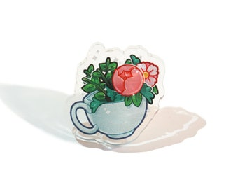 Floral cup of Tea 【ACRYLIC PIN】