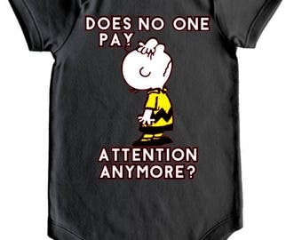 Charlie Brown Oneie/Creeper, Doesn't anyone pay Attention Charlie Brown Oneie/Creeper,  Infant Oneie/Creeper, Infant's Clothing