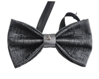 Mens PVC Faux Leather Black Fashion Rivet Shining Bow Tie Bowties Wedding Party