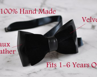 Baby Kids Boy Infant Faux Leather Velvet 2 Layers Black Shining Bow Tie 1-6 YEARS OLD Wedding Party