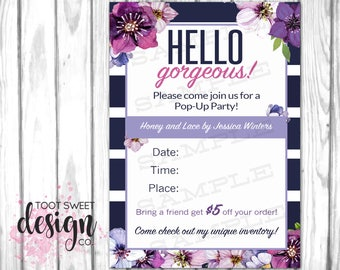 Honey and Lace Pop Up Party Invitation, Consultant Postcard, Honey & Lace Invite Post Card, Boutique Mailer, Navy Purple Floral PRINTABLE