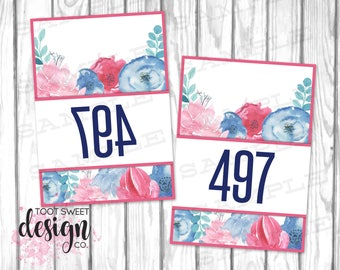 Piphany Mirrored Live Sale Tags, PIPHANY Hanger Numbers / Facebook Live Sales 500 normal and mirror image, Blue Watercolor Floral PRINTABLE