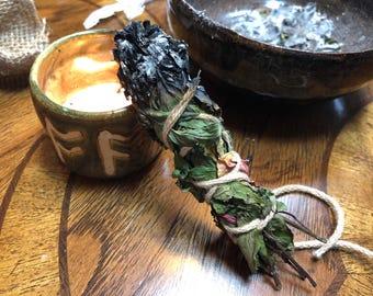 Rose & Mint Herbal Bundle Smudge Sticks  {Ritual Majick Romance Witchy Romantic Magick Ceremony Burn Passion Love Magic Valentine's Spell}