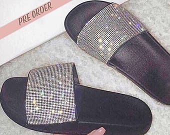 Crystal Slide Sandals - Pre Order - FREE SHIPPING