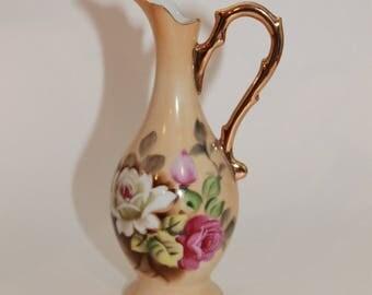 Lefton China Bud Vase/Ewer Vase Handpainted Roses