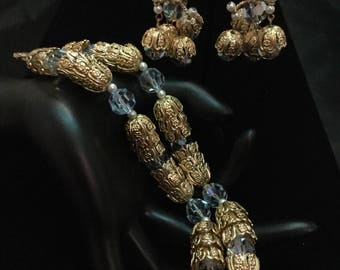 CASTLECLIFF Filigree and AB Crystals Bracelet and Chandelier Earrings