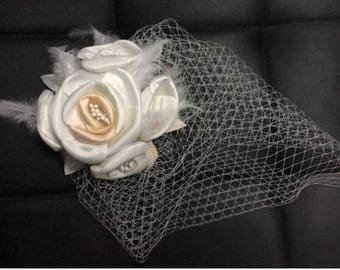 Champagne Flowers and Feathers Bridal Birdcage Veil