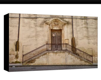 Church door, Italy, Sicily, Church Steps, Canvas Print Photograph