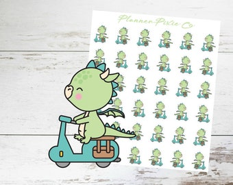 Dragon Planner Stickers // MoPed // Transportation // 020
