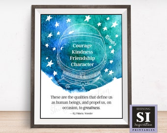 Wonder Movie Quote, Wonder Book Quote, Courage, Kindness, Friendship, Character, Raquel J. Palacio, Bedroom Quote, Classroom Quote, Auggie