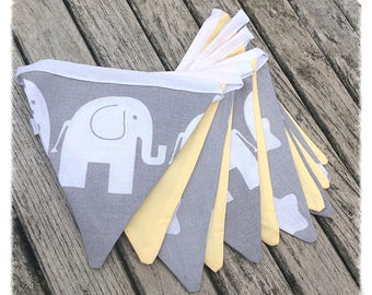 Lemon Yellow & Grey Elephant Bunting, nursery bunting, fabric bunting, baby shower, newborn gift, new baby, nursery decor