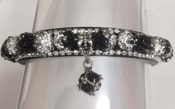 Cutie Pie Pet Collars TM ~Tuxedo Black & White Disco~  UPSCALE Crystal Diamante Rhinestone Pet Dog Cat Collar USA