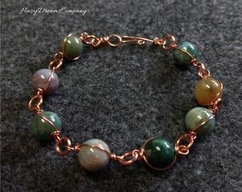 Natural Agate and Copper Bracelet
