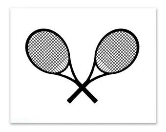Tennis wall art digital download instant printable 5x7 black and white tennis print sports print