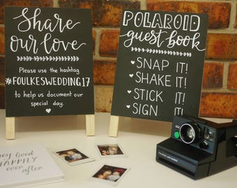 Polaroid guest book | Share our love, social media hashtag A frame black board signs | chalk hand lettered calligraphy