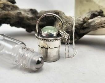 Aquamarine Essential oil vile necklace