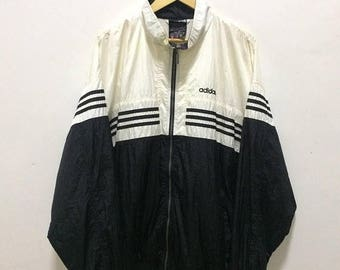 BIG SALE Vintage Adidas Windbreaker Jacket Hip Hop Adidas Spellout Adidas Trefoil Big Logo