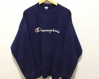 BIG SALE Vintage Champion Sweatshirt Spellout Hip Hop Big Logo Sweatshirt