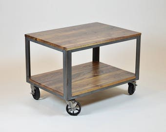 table on wheels. industrial coffee table with wheels on s