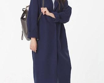Navy blue long cashmere coat,MIDI jacket coat,large collar oversized blazer autumn