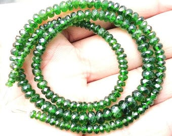 """Natural Chrome diopside faceted beads ,3 mm -- 5 mm ,15""""strand[E0006]"""