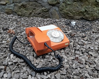 Original Mid Century Rotary Telephone ATA 32 by Iskra, Yugoslavia / Orange / 60s