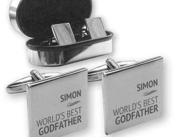 Personalised engraved World's Best GODFATHER  cufflinks gift, in a chrome coloured presentation box - PT4