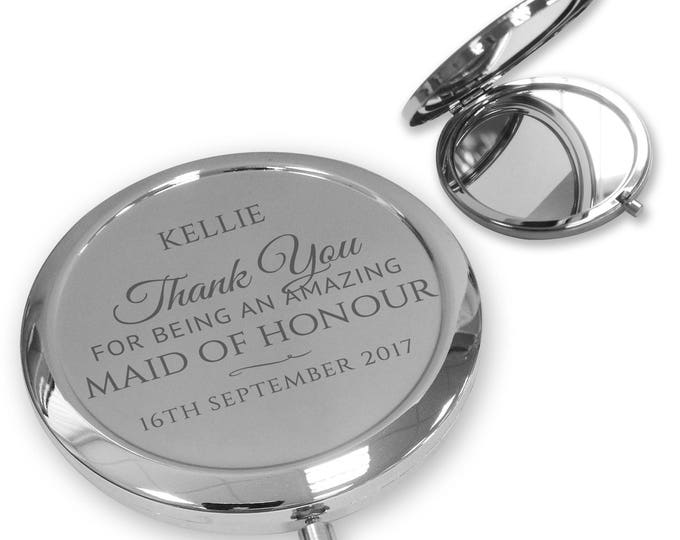 Personalised engraved MAID OF HONOUR compact mirror gift, handbag pocket mirror Push button, deluxe - PBMR3
