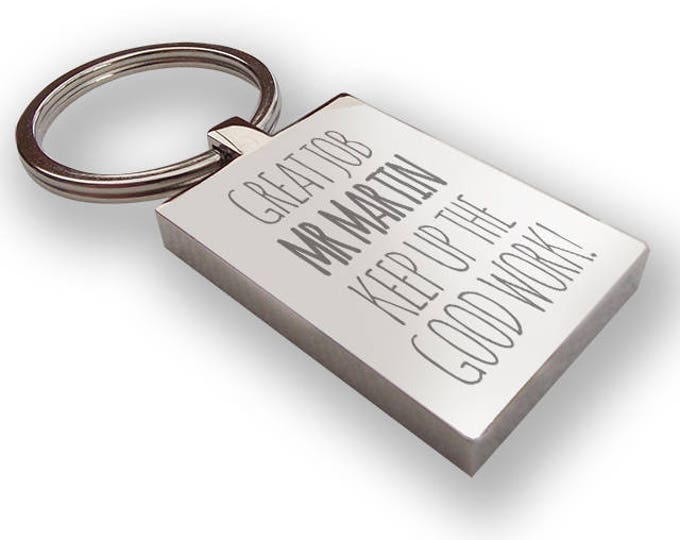 Personalised engraved TEACHER, teaching assistant keyring end of term gift, thank you - TEA6
