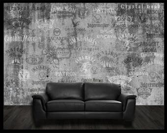 Wall drink rum Tequila Vodka Gin Bar tapestry Decoration wallpaper Scotch Whiskey liquor