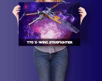 Luke Skywaker's Starfighter | T70XWING XWING FIGHTER | Poster
