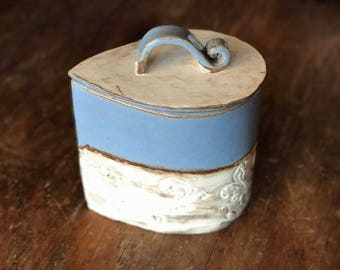 Hand Built Unique Ceramic Pottery Blue Jay Bird Egg Blue Teardrop Shaped Coffee Baking Canister