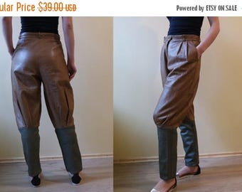 SALE Vintage Leather Galife Pants Genuine Leather Trousers Hight Waisted Brown Leather Biker Pants Soft Leather Brown and Khaki