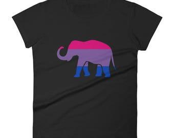 Bi Pride Elephant Women's short sleeve t-shirt lgbt lgbtqipa lgbtq mogai pride flag