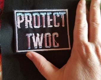Protect TWOC patch - transgender trans rights lgbtq lgbtqipa lgbtq+ queer