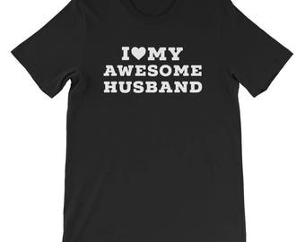 I love my awesome husband wife couple shirts awesome hubby awesome wifey valentine tees gift bridal shower just married husband wife shirts