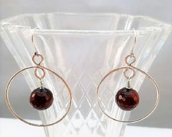 Handcrafted sterling silver hoop earrings with faceted agate bead dangle